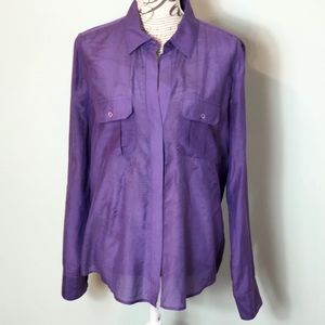 BCBG Maxazria button down shirt cotton silk blend